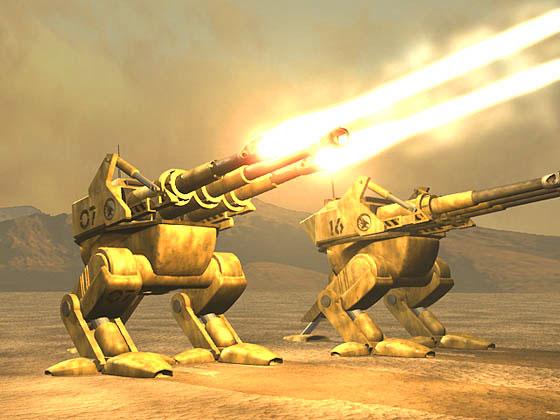Render of Juggernauts firing