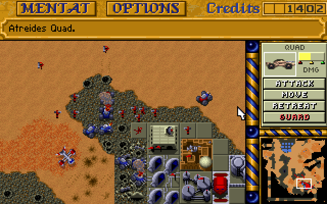 Harkonnen defending base from Atreides